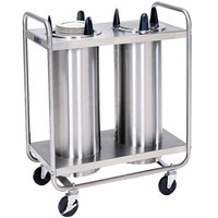 Lakeside 7211 Stainless Steel Open Base Non-Heated Two Stack Plate Dispenser for 10 1/4 inch to 11 inch Plates
