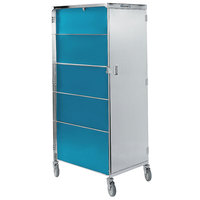 Lakeside 642 Compact Series Single Door Stainless Steel / Vinyl Tray Cart for 14 inch x 18 inch Trays - 20 Tray Capacity
