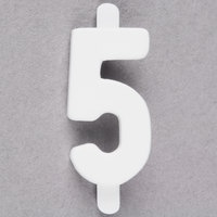 3/4 inch White Molded Plastic Number 5 Deli Tag Insert - 50/Set