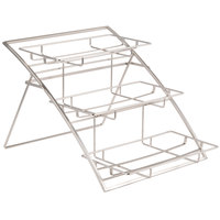 American Metalcraft TASLG Folding Three-Tier Large Chrome Arch Display Stand