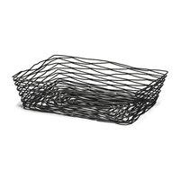 Tablecraft BK17212 Artisan Rectangular Black Wire Basket - 12 inch x 9 inch x 3 1/2 inch