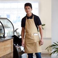 Choice Khaki / Beige Full Length Bib Apron with Pockets - 34 inch x 32 inchW