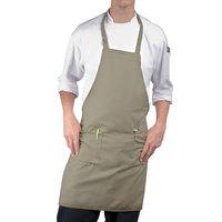 Choice Khaki Full Length Bib Apron with Pockets - 30 inchL x 34 inchW