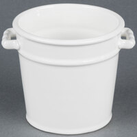 American Metalcraft CPAIL 4 inch White Ceramic Pail with Handles