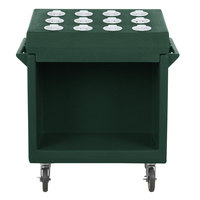 Cambro TDCR12192 Granite Green Tray and Dish Cart with Cutlery Rack and Protective Vinyl Cover