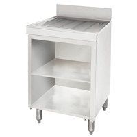 Advance Tabco CRD-4BM Stainless Steel Drainboard Storage Cabinet with Open Front Base and Mid-Shelf - 48 inch x 21 inch