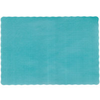 10 inch x 14 inch Emerald Green Colored Paper Placemat with Scalloped Edge - 1000/Case