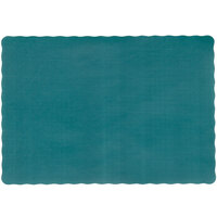10 inch x 14 inch Emerald Green Colored Paper Placemat with Scalloped Edge - 1000 / Case