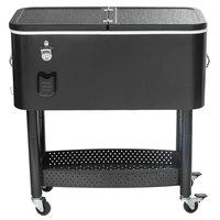 65 Qt. Black Cooler Cart - 31 1/8 inch x 15 3/8 inch x 32 11/16 inch