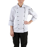 Chef Revival LJ044-L Chef-Tex Size 12 (L) Customizable Poly-Cotton Ladies Brigade Jacket with Black Piping