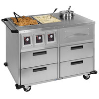 Lakeside 6745 Serve-All 51 inch Stainless Steel Mobile Food Station with Two Full-Size Dry Heat Wells - 220V, 2000W