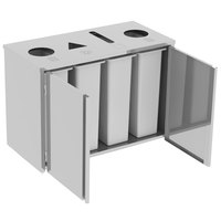 Lakeside 3318 Stainless Steel Refuse(2) / Recycle / Paper Station with Top Access - 48 1/2 inch x 23 1/4 inch x 34 1/2 inch