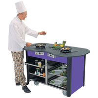 Lakeside 3070 Creation Station Mobile Stainless Steel Induction Cooking Cart with Purple Laminate Finish - 32 inch x 60 inch x 35 3/4 inch