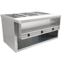 Advance Tabco HDSW-3-240-BS Stainless Steel Heavy-Duty Three Pan Electric Sealed Table with Enclosed Base - 208/240V