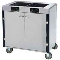 Lakeside 2075 Creation Express Mobile Stainless Steel Cooking Cart with 2 Induction Burners and 1 Filtration Unit - 22 inch x 34 inch x 40 1/2 inch