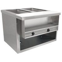 Advance Tabco HDSW-2-240-BS Stainless Steel Heavy-Duty Two Pan Electric Sealed Table with Enclosed Base - 208/240V