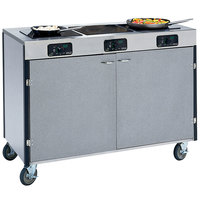 Lakeside 2080 Creation Express Mobile Stainless Steel Cooking Cart with 3 Induction Burners and No Exhaust Filtration - 22 inch x 48 inch x 35 1/2 inch