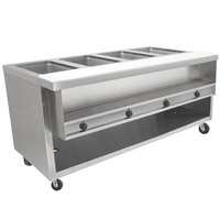 Advance Tabco HDSW-4-BS Stainless Steel Heavy-Duty Four Pan Electric Sealed Table with Enclosed Base