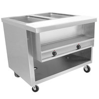 Advance Tabco HDSW-2-BS Stainless Steel Heavy-Duty Two Pan Electric Sealed Table with Enclosed Base
