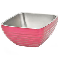 Vollrath 4763575 5.2 qt. Enchanted Pink Stainless Steel Square Beehive Double-Wall Insulated Serving Bowl