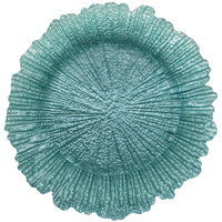 The Jay Companies 13 inch Round Reef Turquoise Glass Charger Plate