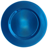 The Jay Companies 1470345 13 3/8 inch Round Sunray Cobalt Glass Charger Plate