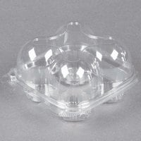4 Compartment Clear Hinged High Dome Cupcake Container   - 225/Case