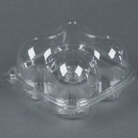 4 Compartment Clear Hinged High Dome Cupcake Container - 225 / Case