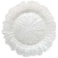 The Jay Companies 13 inch Round Reef White Glass Charger Plate