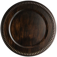 The Jay Companies 1320398 14 inch Round Brown Faux Wood Plastic Charger Plate