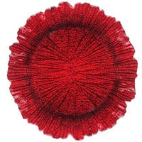 The Jay Companies 13 inch Round Reef Red Glass Charger Plate