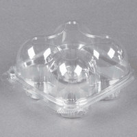 4 Compartment Clear Hinged High Dome Cupcake Container - 5/Pack
