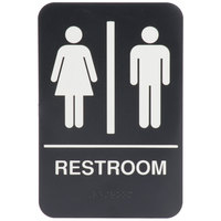 9 inch x 6 inch Black and White Restroom Sign with Braille