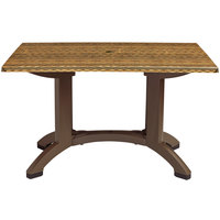 Grosfillex US240818 Sumatra 48'' x 32'' Wicker Decor Rectangular Pedestal Table with Umbrella Hole