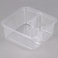 Fabri-Kal Greenware GS6-2 2-Compartment Clear PLA Compostable Container - 300/Case