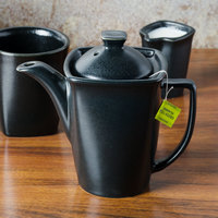 Hall China 4770AFCA Foundry 16 oz. Black China Beverage Server with Lid - 12/Case