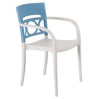 Grosfillex XA651196 / US651196 Moon Storm Blue / Linen Indoor / Outdoor Stacking Armchair