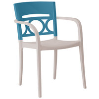 Grosfillex Moon Indoor / Outdoor Stacking Armchair - Storm Blue Back / Linen-Colored Seat