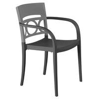 Grosfillex XA652579 / US652579 Moon Titanium Gray / Charcoal Indoor / Outdoor Stacking Armchair