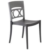 Grosfillex XA650579 / US650579 Moon Titanium Gray / Charcoal Indoor / Outdoor Stacking Chair