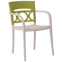 Grosfillex Moon Indoor / Outdoor Stacking Armchair - Cactus Green Back / Linen-Colored Seat
