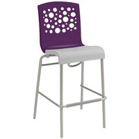 Grosfillex Tempo Indoor Stacking Resin Barstool with Eggplant Back and Linen-Color Seat