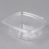 Genpak AD12 5 3/8 inch x 4 1/2 inch x 2 1/2 inch 12 oz. Clear Hinged Deli Container - 100/Pack
