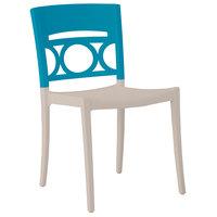 Grosfillex XA649196 / US649196 Moon Storm Blue / Linen Indoor / Outdoor Stacking Chair