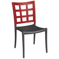 Grosfillex XA646202 / US646202 Plazza Apple Red / Charcoal Indoor / Outdoor Stacking Chair