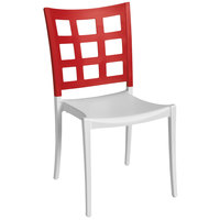 Grosfillex Plazza Indoor / Outdoor Stacking Chair - Apple Red Back / White Seat