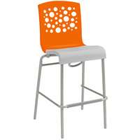 Grosfillex Tempo Indoor Stacking Resin Barstool with Orange Back and White Seat