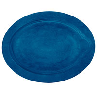 Lodge UOPB3 9 inch x 11 3/4 inch Cobalt Blue Oval Wood Underliner for Oval Serving Griddles