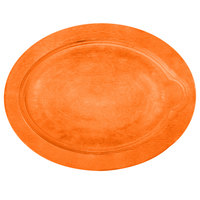 Lodge UOPB9 9 inch x 11 3/4 inch Tangerine Orange Oval Wood Underliner for Oval Serving Griddles