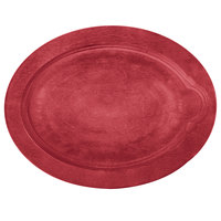 Lodge UOPB1 9 inch x 11 3/4 inch Chili Pepper Red Oval Wood Underliner for Oval Serving Griddles